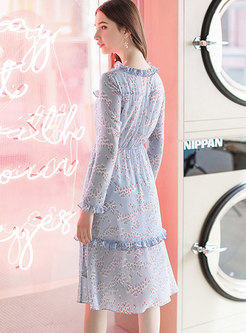 Floral Print V-neck High Waist Falbala Skater Dress