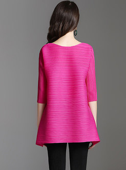 Casual Solid Color Pleated Pullover T-Shirt