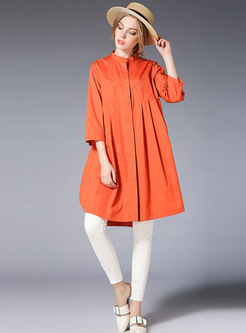 Casual Pure Color Stand Collar Asymmetric Loose Blouse