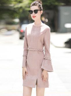 Elegant Pink Flare Sleeve High Waist A Line Dress