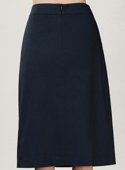 Brief High Waist Pure Cotton Midi Skirt With Pocket