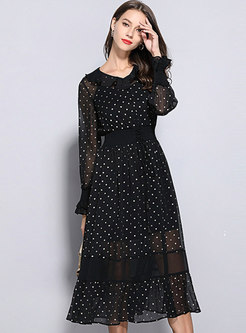 Black Long Sleeve Polka Dot Skater Dress