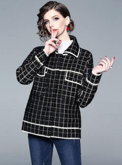 Color-blocked Plaid Lapel Straight Coat