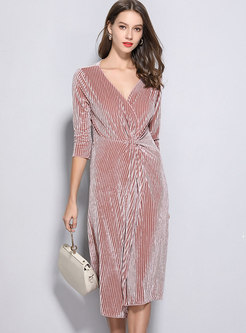 Sexy Deep V-neck Gathered Waist Slit Asymmetric Sheath Dress