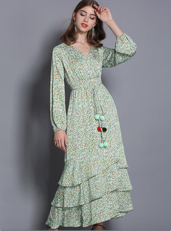 V-neck Lantern Sleeve Floral High Waist Falbala Maxi Dress