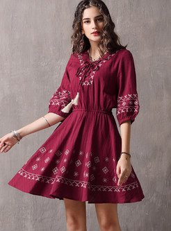 V-neck Tied Lantern Sleeve Embroidered Waist Dress