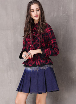 Standing Collar Long Sleeve Plaid Waist Blouse