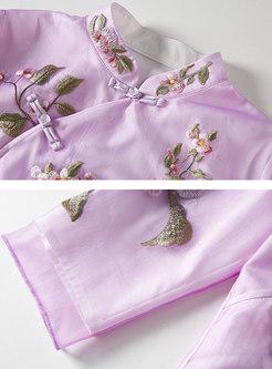 Retro Stand Collar Embroidered Slim Coat