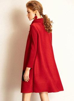 Elegant Turn Down Collar Print Shift Dress