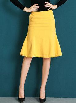 Solid Color High Waist Mermaid Skirt