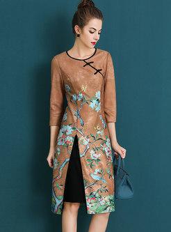 Vintage Print O-neck Slit A Line Dress