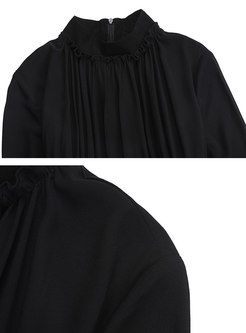 Stylish Splicing High Waist Hem Maxi Dress