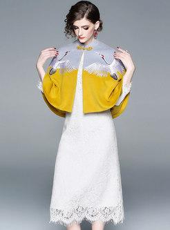 Chic Stand Collar Embroidered Woolen Kimono