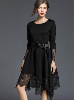 O-neck Long Sleeve Lace Splicing Waist A Line Dress