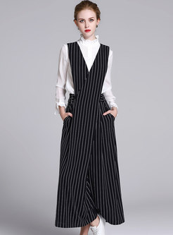 Elegant Striped V-neck Wide Leg Jumpsuit
