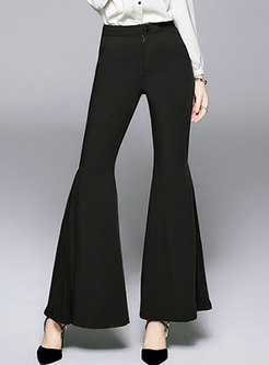 Stylish Black High Waist Slim Flare Pants