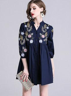 Casual V-neck Lantern Sleeve Embroidered Mini Dress