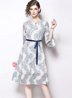 O-neck Three Quarters Sleeve Bowknot Waist A Line Dress