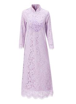 Retro Solid Color Mandarin Collar Loose Lace Shift Dress