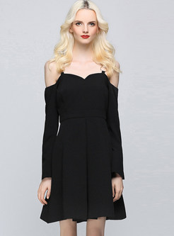 Sexy Slash Neck Long Sleeve Waist Skater Dress