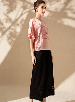 Casual O-neck Embroidered Half Sleeve Loose T-shirt & Elastic Waist Wide Leg Pants