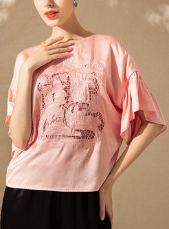 Casual O-neck Embroidered Half Sleeve Loose T-shirt & Elastic Waist Wide Leg Pants