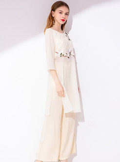 Chic O-neck Embroidered Slit Long Top & Wide Leg Pants