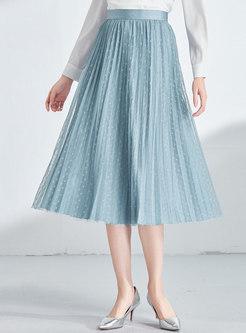 Gauze Polka Dot High Waist Pleated Skirt