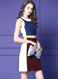 Color-blocked O-neck Sleeveless High Waist Mini Dress