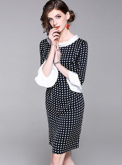 Color-blocked Polka Dot Flare Sleeve Sheath Dress