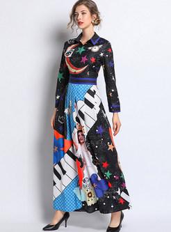 Court Lapel Long Sleeve Print Waist Pleated Maxi Dress