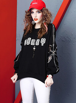 O-neck Lantern Sleeve Letter Print Sequined Sweatshirt