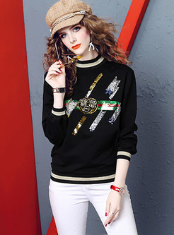 Casual Color-blocked Long Sleeve Animal Print Sweatshirt