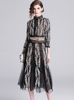 Perspective Mesh Standing Collar Splicing Lace Dress