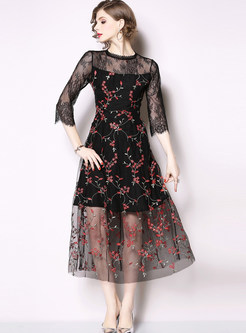 Sexy Perspective Lace Splicing Floral Skater Dress