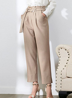 Solid Color High Waist Belted Straight Pants