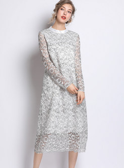 Plus Size O-neck Long Sleeve Hollow Out Lace Shift Dress
