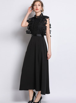Solid Color Standing Collar Sleeveless Lace Big Hem Dress
