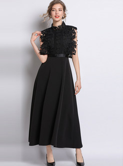 Black Mock Neck Lace Party Maxi Dress