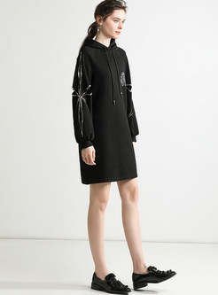 Casual Hooded Sequined Hollow Out Loose Sweatshirt Dress