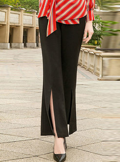 Black High Waist Slit Flare Pants