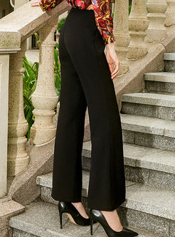 Black High Waist Slit Flare Pants
