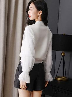 Mesh Flare Sleeve Swan Pattern Sweatshirt