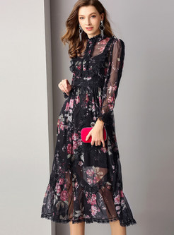 Sexy Perspective Standing Collar Long Sleeve Print Dress With Sling