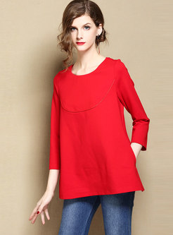 Solid Color Embroidered Hollow Out Loose T-shirt