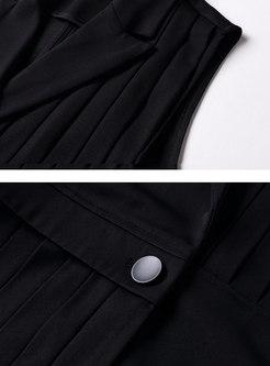 Fashion Black Turn Down Collar Slim Pleated Vest
