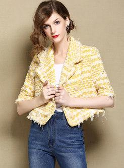 Turn Down Collar Half Sleeve Plaid Short Coat