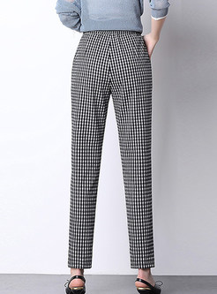 Casual High Waist Easy-matching Plaid Harem Pants