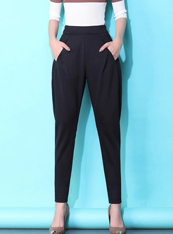 Brief Solid Color High Waist Harem Pants