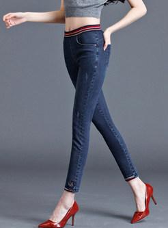Color-blocked Elastic High Waist Plus Size Denim Pants